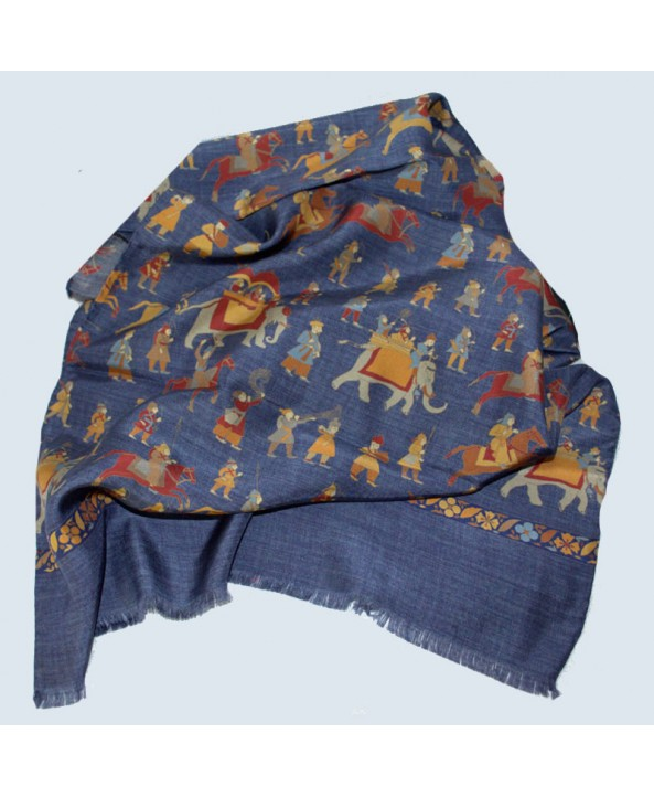 Fine Silk Forest Elephants and Horsemen in Navy