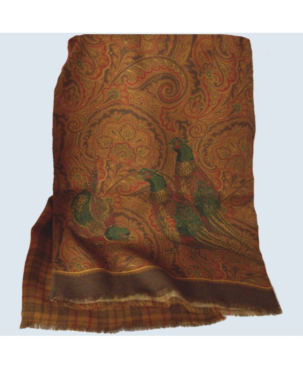 Fine Silk and Wool Pheasant Paisley Design on Bronze