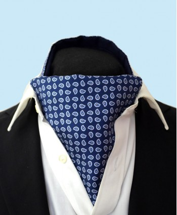 Fine Silk vibrant Paisley Neat Pattern Cravat in Classic Navy