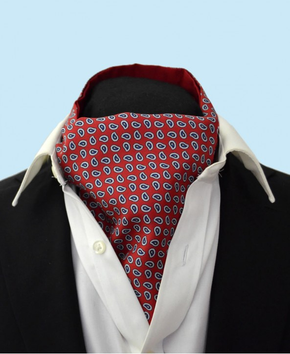 Fine Silk vibrant Paisley Neat Pattern Cravat in Lively Red