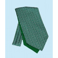 Fine Silk vibrant Paisley Neat Pattern Cravat in Forest Green