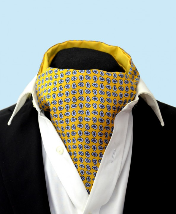 Fine Silk vibrant Paisley Neat Pattern Cravat in Golden Yellow