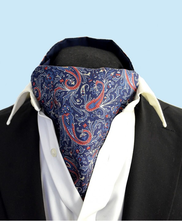 Fine Silk Chinese Dragon Paisley Pattern Cravat in Classic Navy