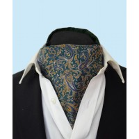 Fine Silk Chinese Dragon Paisley Pattern Cravat in Forest Green