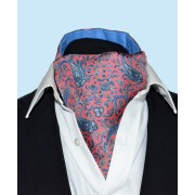 Fine Silk Chinese Dragon Paisley Pattern Cravat in Striking Pink