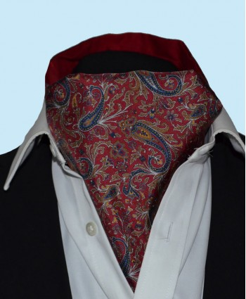 Fine Silk Chinese Dragon Paisley Pattern Cravat in Deep Red