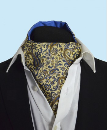 Fine Silk Chinese Dragon Paisley Pattern Cravat in Light Yellow