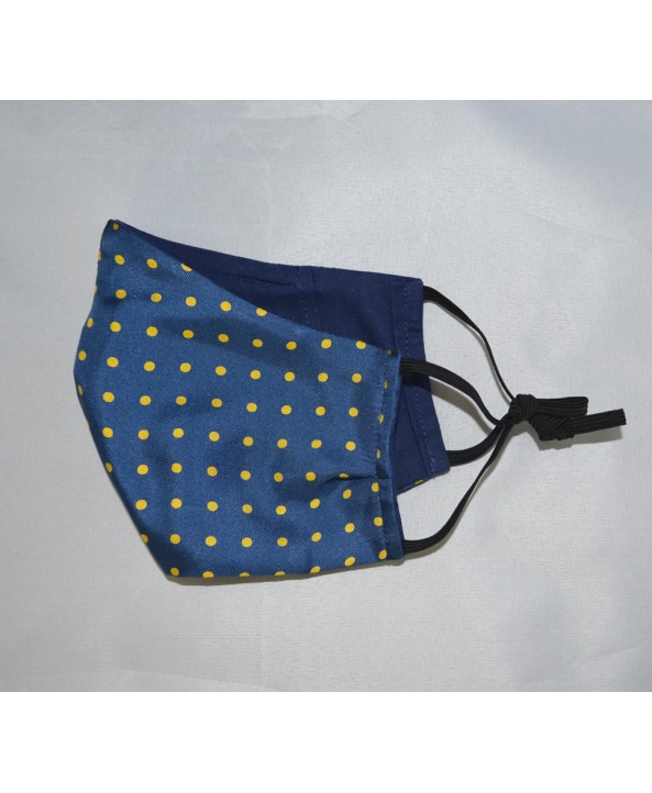 Fine Silk French Blue with Yellow Spots Design Face Mask Washable and Reusable - Made in UK