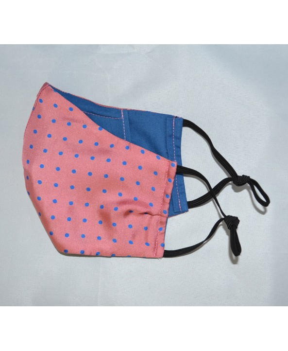 Fine Silk Warm Pink with Royal Blue Spots Design Face Mask Washable and Reusable - Made in UK