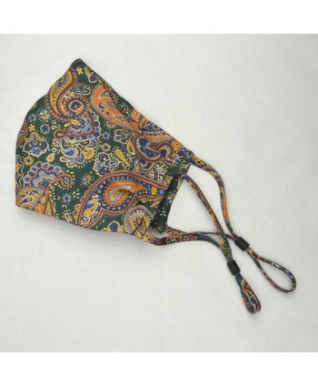 Paisley Bottle Green and Orange 100% Fine Silk Face Mask - Made in UK