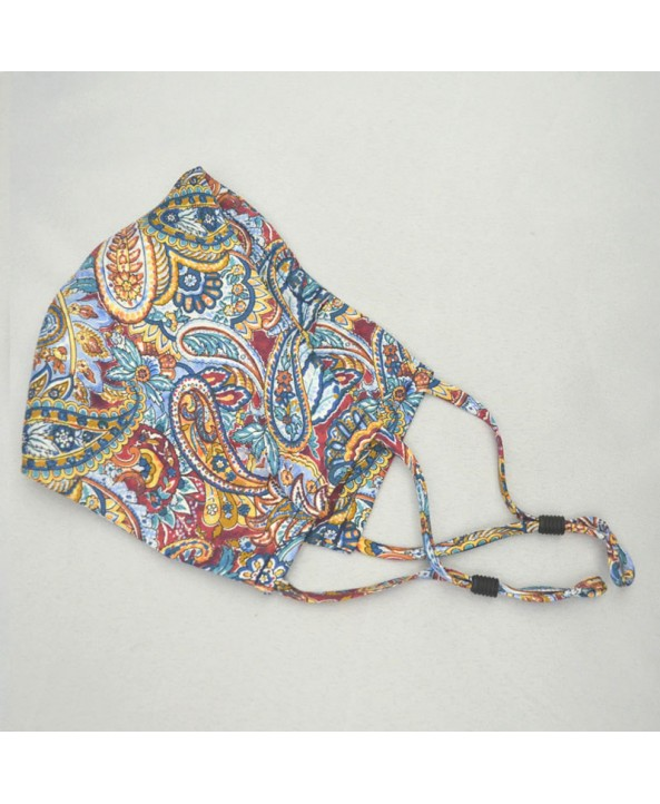 Fancy Paisley Face Mask in Red and Blue 100% Fine Silk Face Mask  - Made in UK