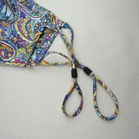 Fancy Paisley Face Mask in Teal and Yellow 100% Fine Silk Face Mask - Made in UK
