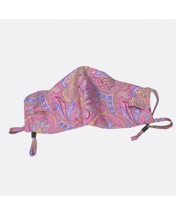Paisley Pink and Lilac 100% Fine Silk Face Mask - Made in UK