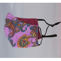 Fine Silk Violet Paisley Design Face Mask  Washable and Reusable - Made in UK
