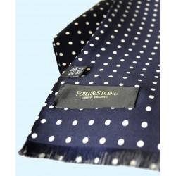 Fine Silk Spotted Double Layer Silk Scarf in Navy with White Polka Dots