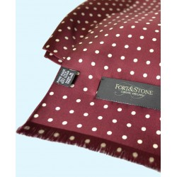 Fine Silk Spotted Double-Sided Silk Scarf in Wine Red with White Dots