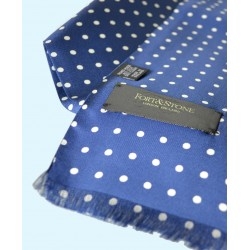 Fine Silk Spotted Double-Sided Silk Scarf in Royal Blue with White Polka Dots
