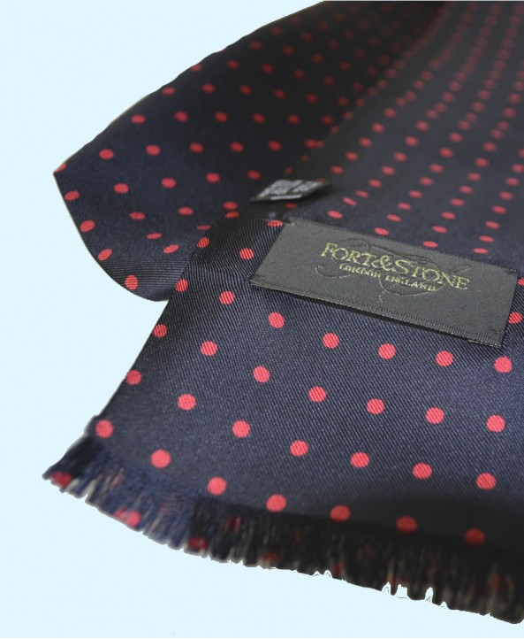 Fine Silk Spotted Double-Sided Silk Scarf in Navy Blue with Red Polka Dots