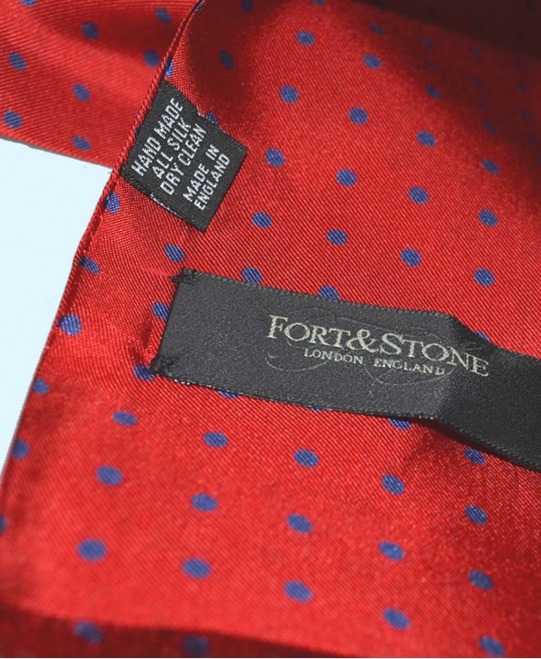 Fine Silk Spotted Double-Sided Silk Scarf in Bright Red with Blue Polka Dots