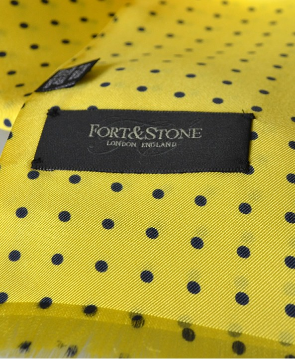 Fine Silk Spotted Double-Sided Silk Scarf in Yellow with Navy Blue Polka Dots