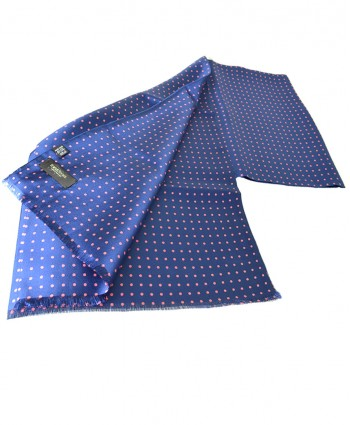 Fine Silk Spotted Double-Sided Silk Scarf in Fench Blue with Pink Polka Dots