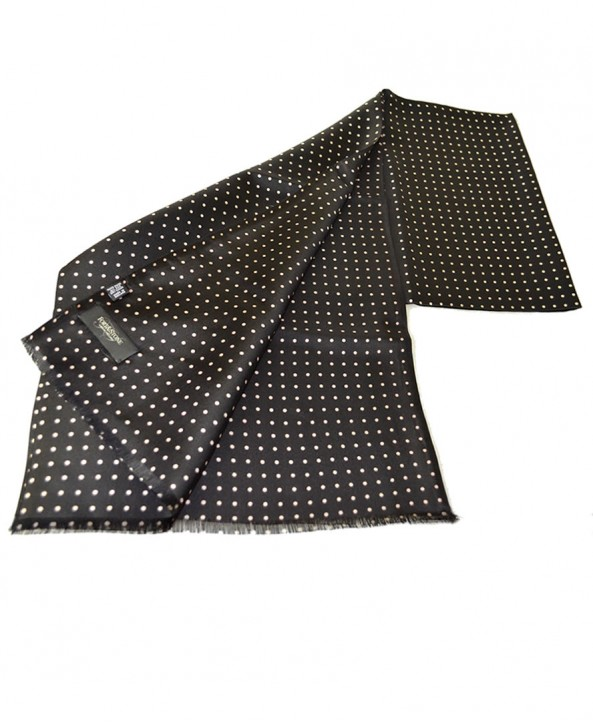 Fine Silk Spotted Double-Sided Silk Scarf in Black with White Polka Dots
