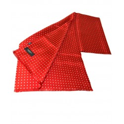 Fine Silk Spotted Double-Sided Silk Scarf in Scarlet with White Polka Dots