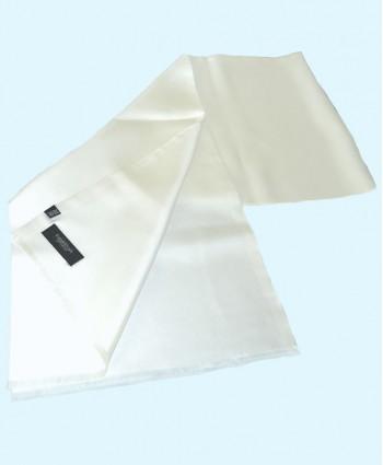 Fine Saglia Silk Double Layer Opera  Scarf in Plain White