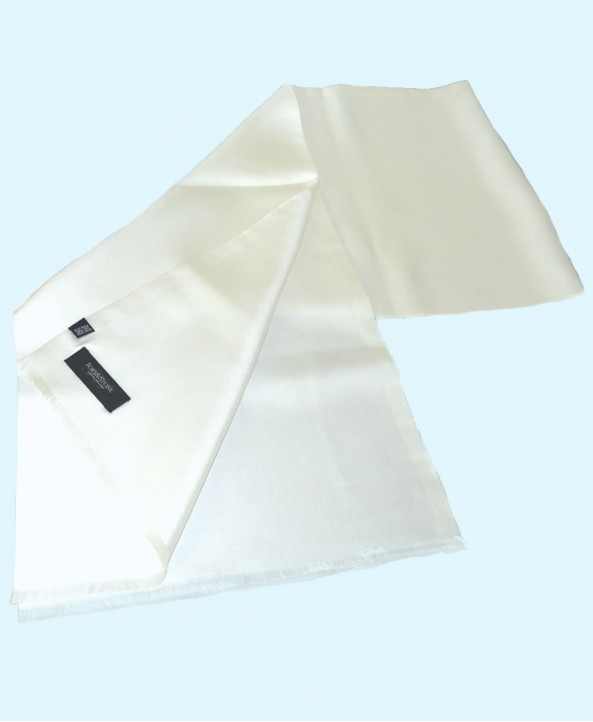 Fine Saglia Silk Double Layer Opera  Scarf in Plain White