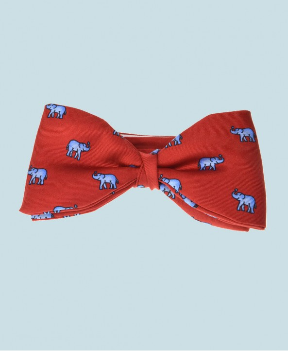 Fine Silk Lucky Elephant Pattern Ready Tie Bow Tie in Red and Light Blue