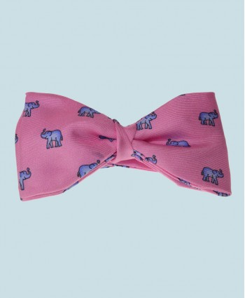 Fine Silk Lucky Elephant Pattern Ready Tie Bow Tie in Pink and Light Blue