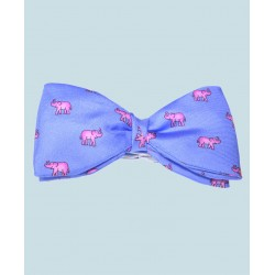 Fine Silk Lucky Elephant Pattern Ready Tie Bow Tie in Light Blue and Pink