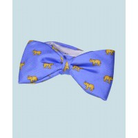 Fine Silk Lucky Elephant Pattern Ready Tie Bow Tie in Light Blue and Yellow