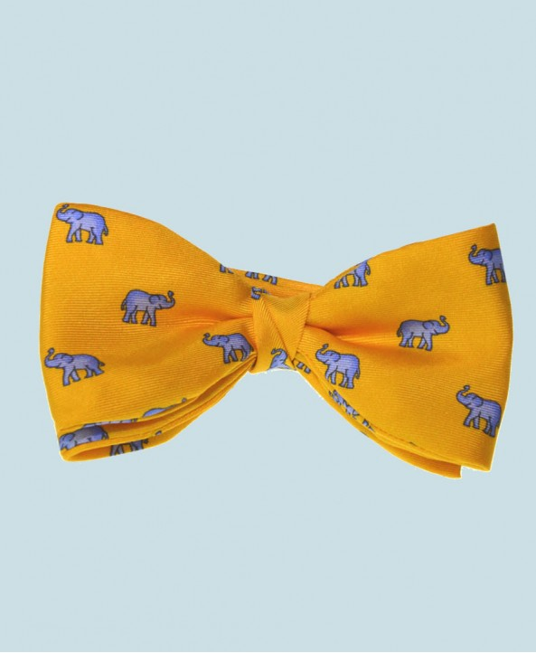 Fine Silk Lucky Elephant Pattern Ready Tie Bow Tie in Yellow and Light Blue
