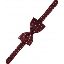 Fine Silk Spotted Self Tie Bow in Wine Red with White