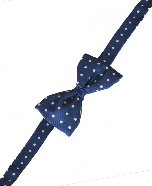 Fine Silk Spotted Self Tie Bow in Royal Blue with White