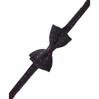 Fine Silk Spotted Self Tie Bow in Navy Blue with Red