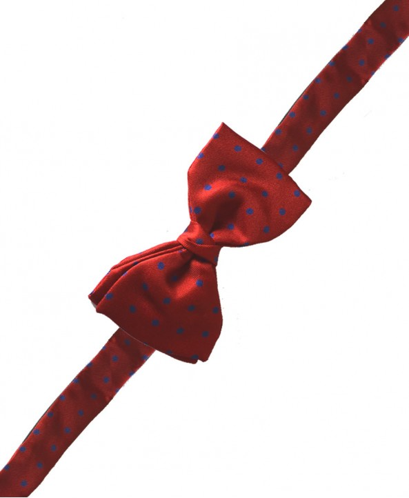 Fine Silk Spotted Self Tie Bow in Bright Red with Blue