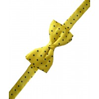 Fine Silk Spotted Self Tie Bow in Yellow with Navy
