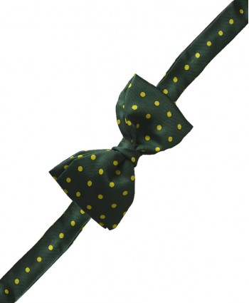 Fine Silk Spotted Self Tie Bow in Olive Green with Yellow
