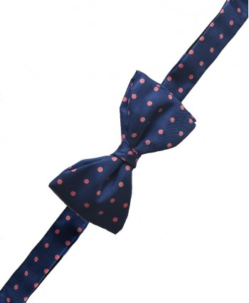 Fine Silk Spotted Self Tie Bow in French Blue with Pink