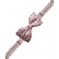 Fine Silk Spotted Self Tie Bow in Pink with Navy