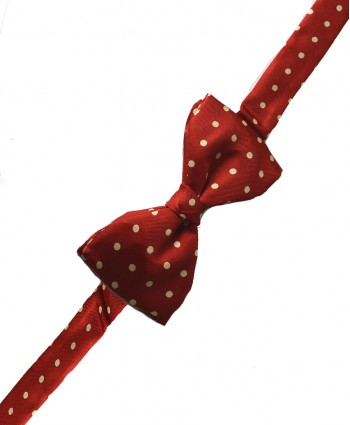 Fine Silk Spotted Self Tie Bow in Scarlet with White