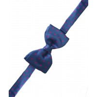 Fine Silk Spotted Self Tie Bow in Mediterranean Blue with Pink