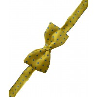 Fine Silk Spotted Self Tie Bow in Golden Yellow with Blue