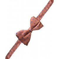 Fine Silk Spotted Self Tie Bow in Warm Pink with Blue