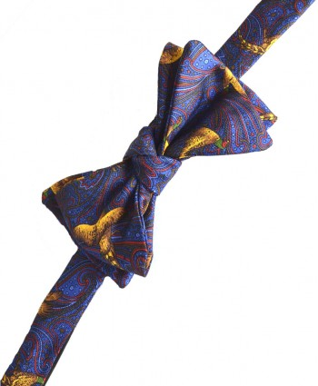 Fine Silk Pheasant and Paisley Pattern Self Tie Bow in Blue
