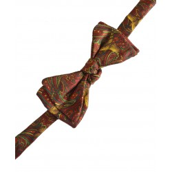 Fine Silk Pheasant and Paisley Pattern Self Tie Bow in Red