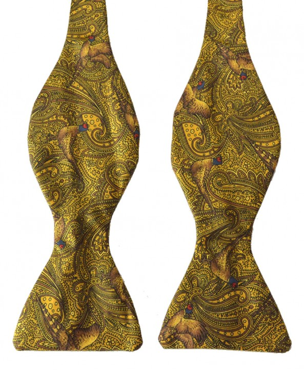 Fine Silk Pheasant and Paisley Pattern Self Tie Bow in Gold
