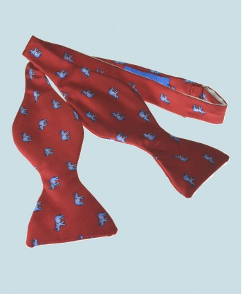 Fine Silk Lucky Elephant Pattern Self Tie Bow Tie in Red and Light Blue